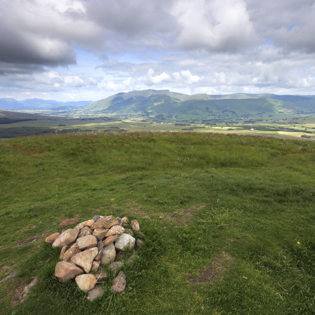 """Cairn at the summit of Great Mell Fell, Lake District National Park, Cumbria..."" stock image"