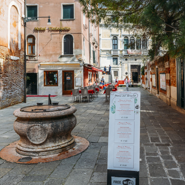 """""""A menu in both English and Italian in front of a restaurant in the historic..."""" stock image"""