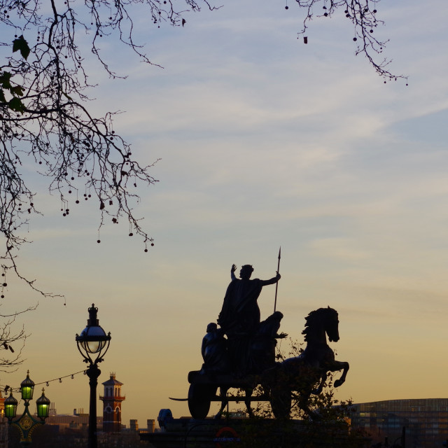 """""""Boudica Silhouetted at Sunset, London."""" stock image"""