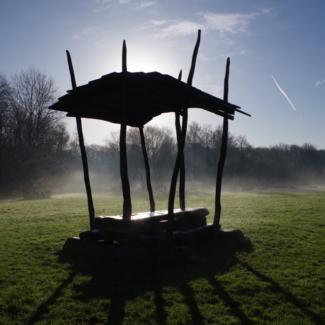 """""""Silhouetted Bench Structure on a Misty Morning."""" stock image"""