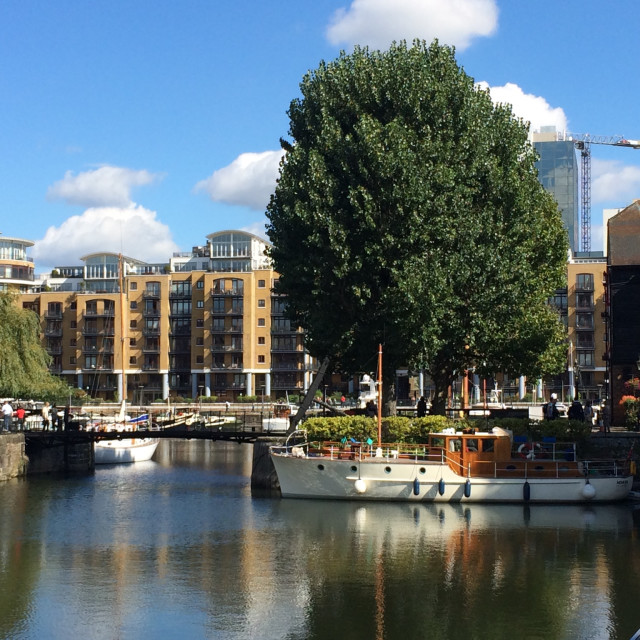 """View across St Katharine Docks, London"" stock image"