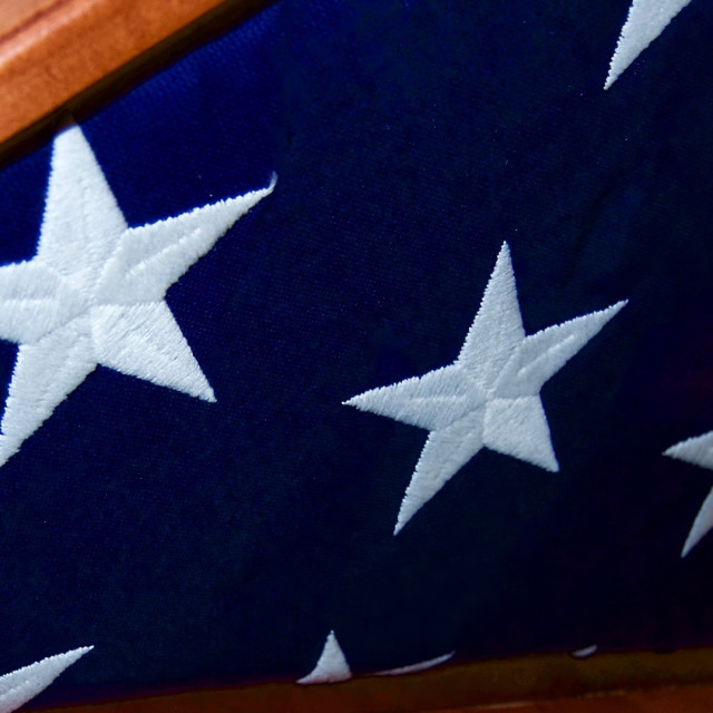 """""""Embroidered Stars on a Folded Flag"""" stock image"""