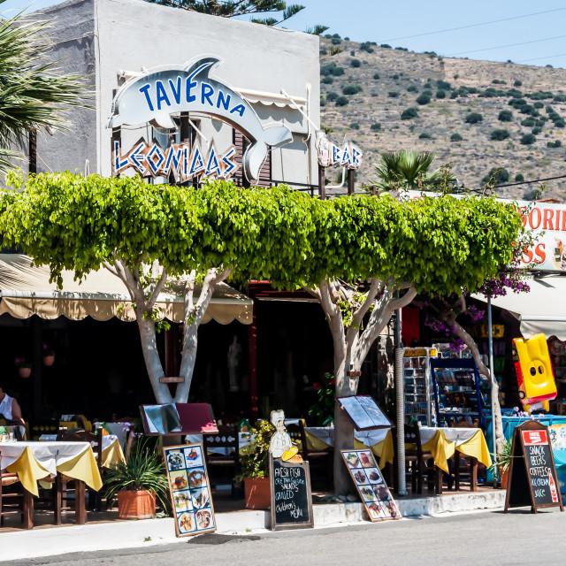 """Row of Restaurants on Crete, Greece"" stock image"