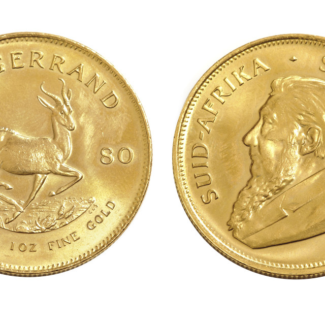 """Heads and Tails 1 ounce krugerrands"" stock image"