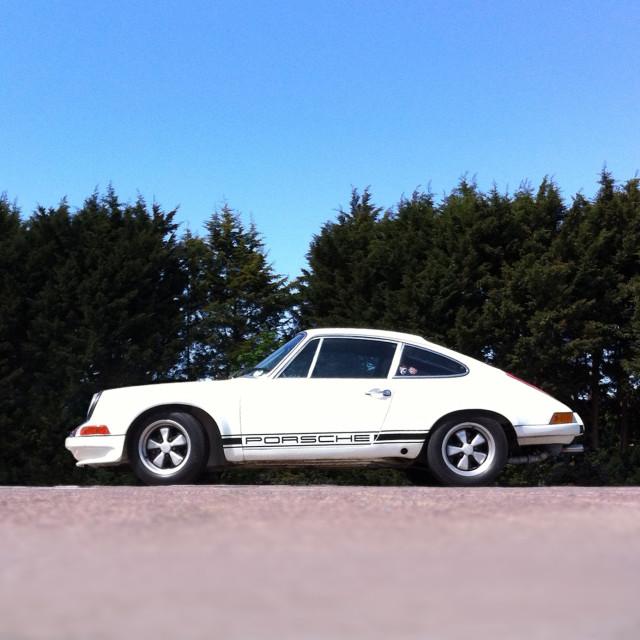 """""""Classic white Porsche 911"""" stock image"""
