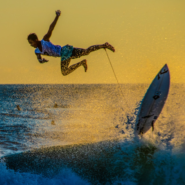 """""""Surfer Launched into the sea"""" stock image"""