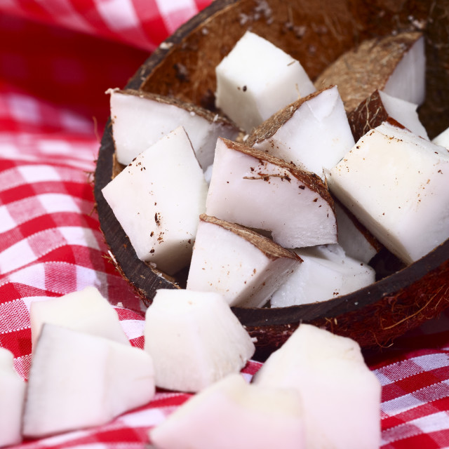 """Ripe tropical coconut fruit chunks"" stock image"
