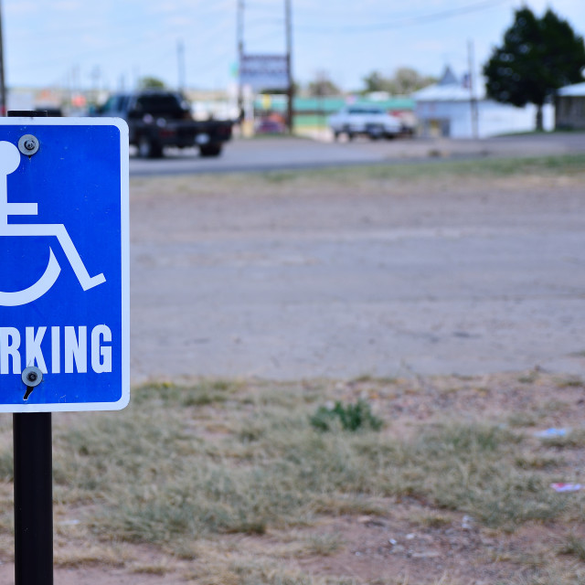 """Reserved parking for handicapped only."" stock image"