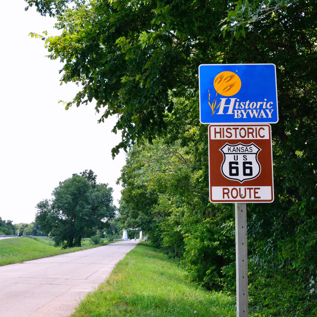 """Historic Route 66 road sign."" stock image"