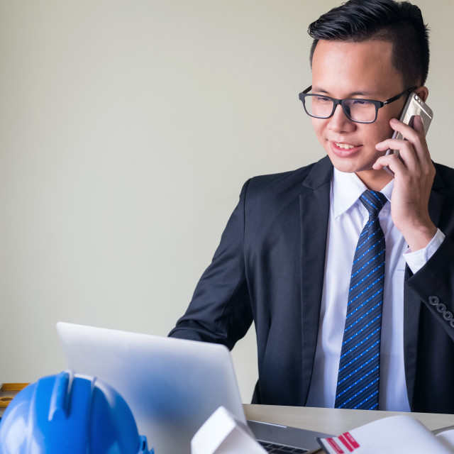"""happy Asian Businessman in office"" stock image"