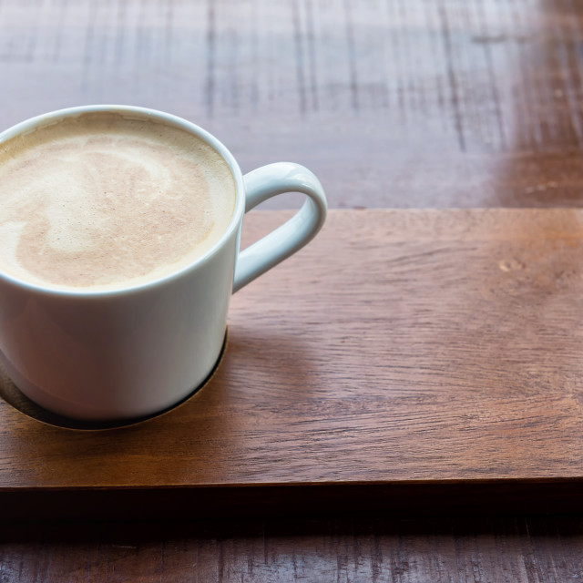 """Hot Cappuccino with frothy milk foam"" stock image"