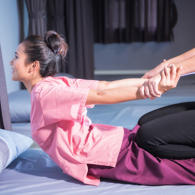 """Thai massage by stretch back and hands"" stock image"