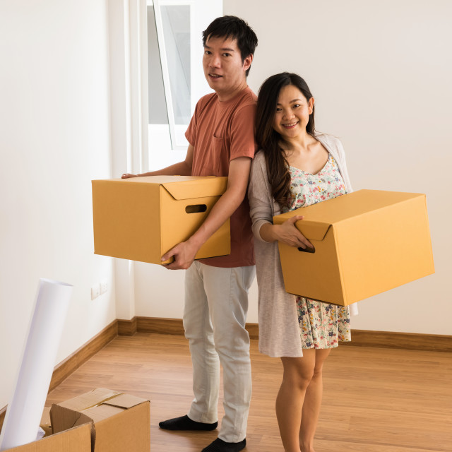 """Couple moving to new house"" stock image"