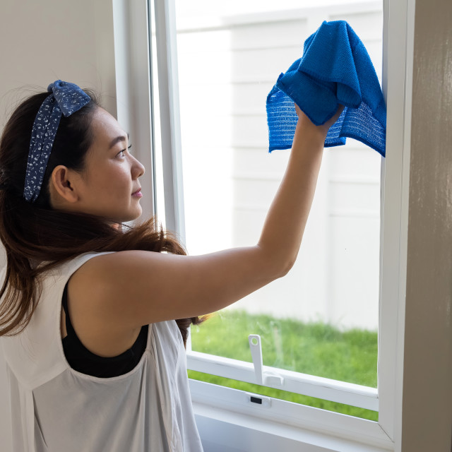 """clean window of new house by microfiber fabric"" stock image"