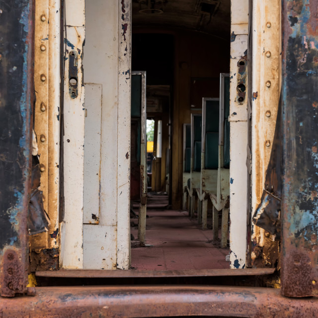"""old rusty Thai railway train entrance"" stock image"