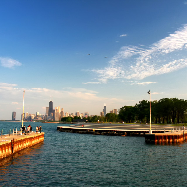 """people at Michigan lake in summer, Chicago"" stock image"
