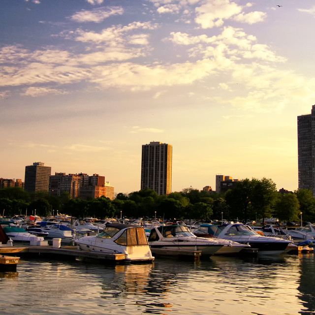 """boats parking at Chicago yatch harbor at sunset"" stock image"