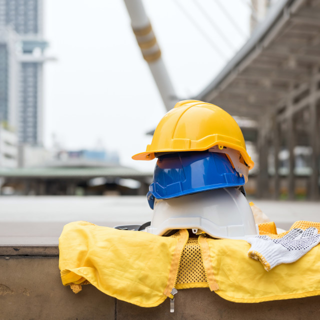 """engineer safety equipment at construction site"" stock image"