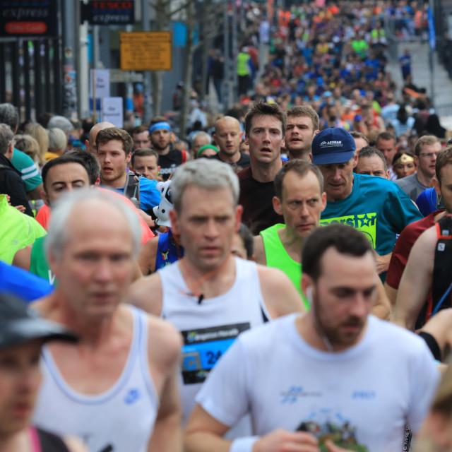 """""""Massed runners in the Brighton Marathon"""" stock image"""