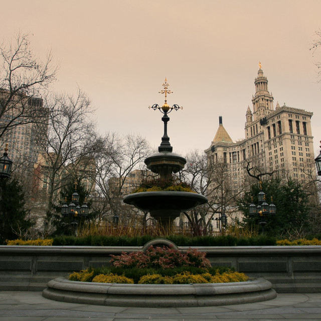 """Fountain monument at New York City Hall"" stock image"