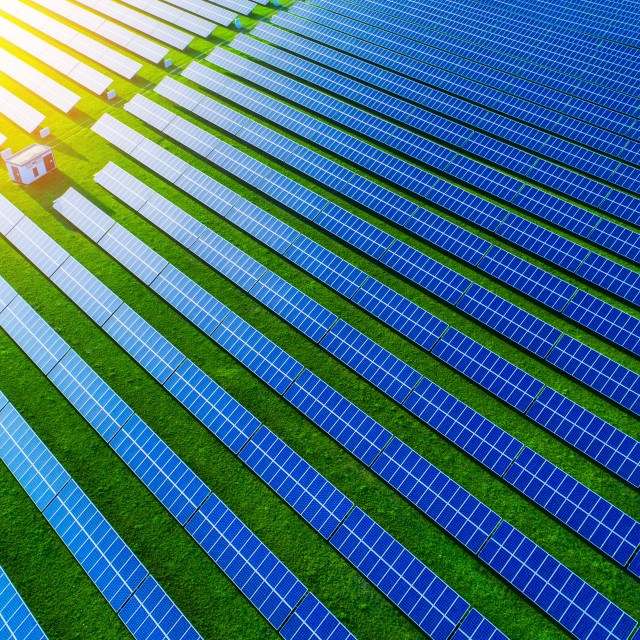 """Solar energy farm. High angle view of solar panels on an energy"" stock image"