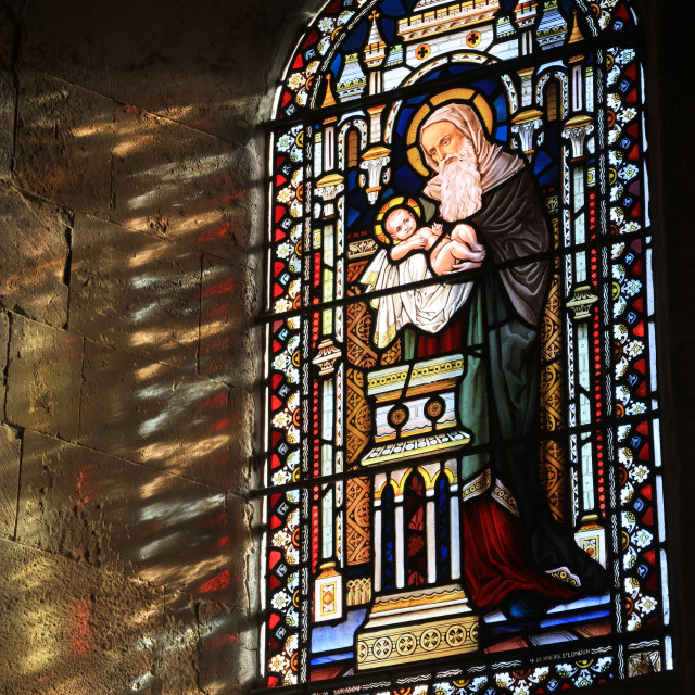 """""""Stained Glass, Shoreham, Sussex"""" stock image"""