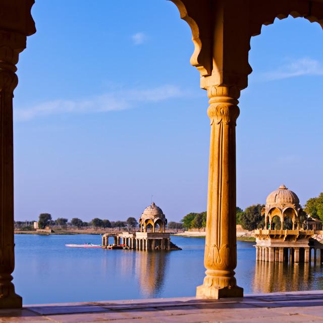 """Gadi Sagar Temple in Gadisar lake"" stock image"