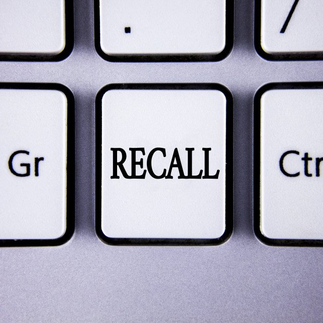 """Text sign showing Recall. Conceptual photo Bring back to memory Ordering the..."" stock image"