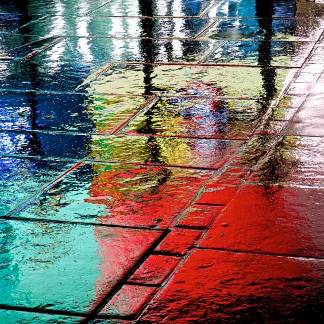 """""""Rainy pavement by Piccadilly Circus, London"""" stock image"""