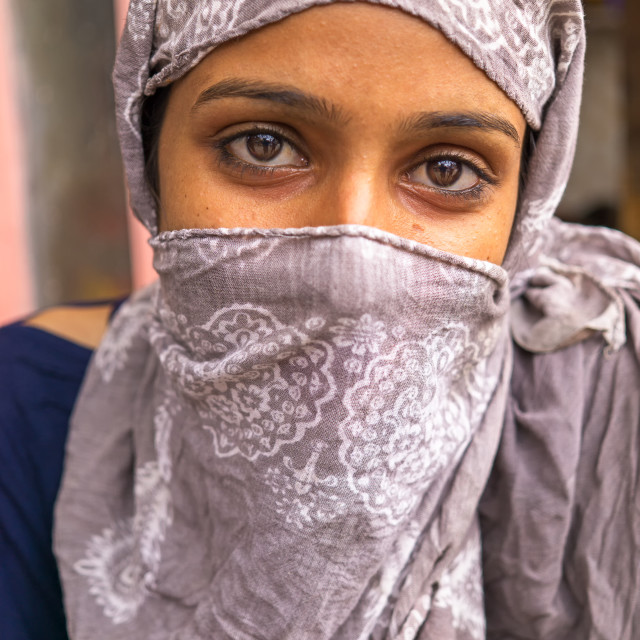 """Portrait of a young Indian girl with headscarf"" stock image"