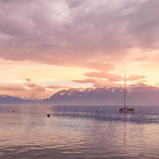 """Sunrise over the Leman lake"" stock image"