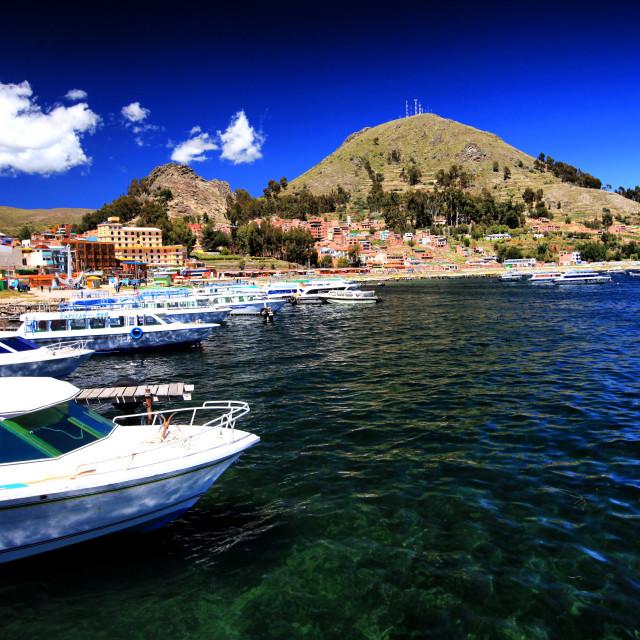 """Copacabana on Lake Titicaca"" stock image"