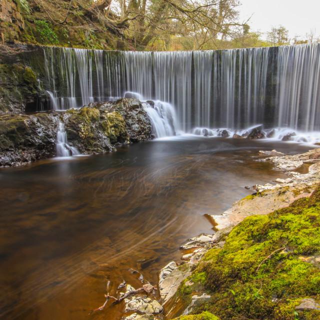 """River Calder Waterfall"" stock image"