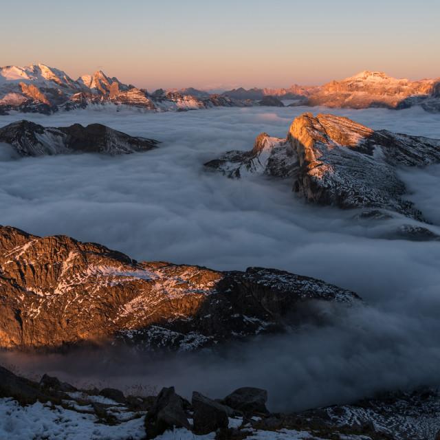 """Sea of Cloud - Lagazuoi, Dolomites"" stock image"