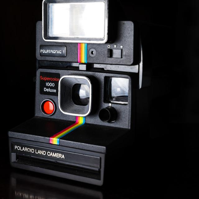 """""""Retro Camera: Polaroid Supercolor 1000 Deluxe Land Camera"""" stock image"""