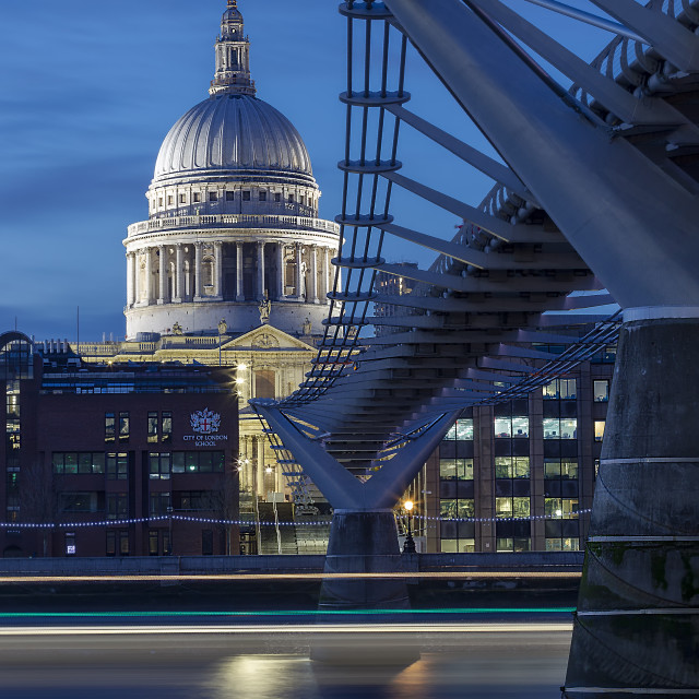 """St Pauls and Millennium Bridge"" stock image"