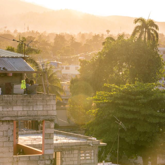 """Sunset in Port au Prince, Haiti"" stock image"