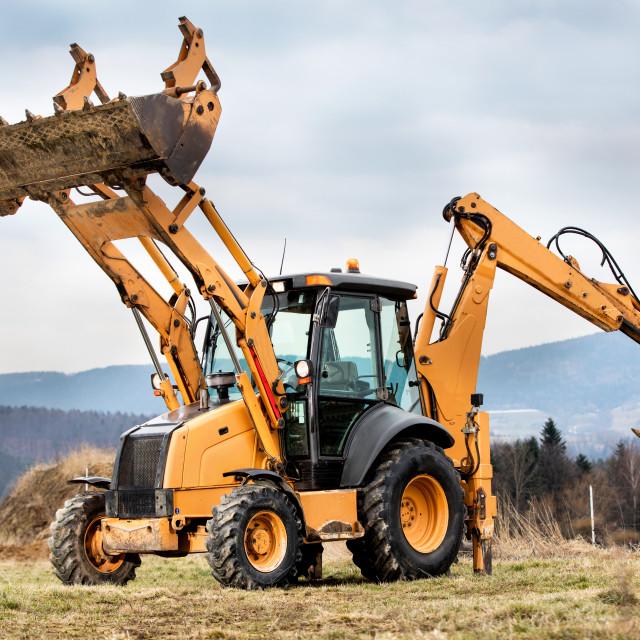 """Construction machinery presentation excavator"" stock image"
