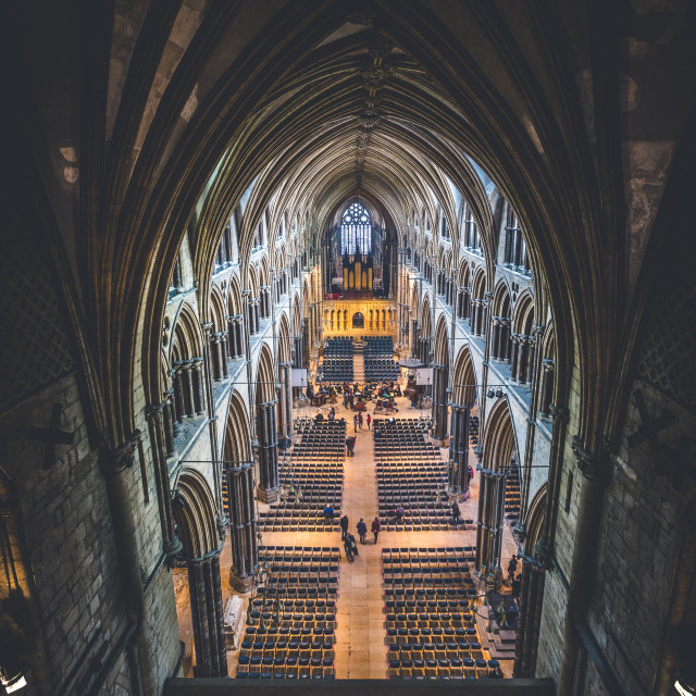 """Lincoln Cathedral, Nave."" stock image"