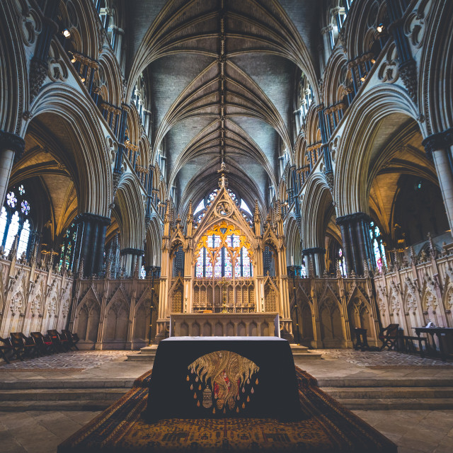"""Lincoln Cathedral, Font."" stock image"