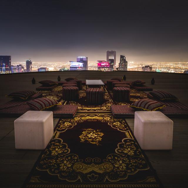 """Doha Rooftop Picnic."" stock image"