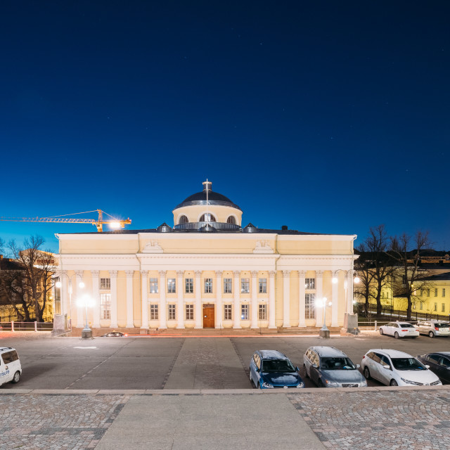 """""""Helsinki, Finland. The National Library Of Finland In Lighting At Evening Or..."""" stock image"""