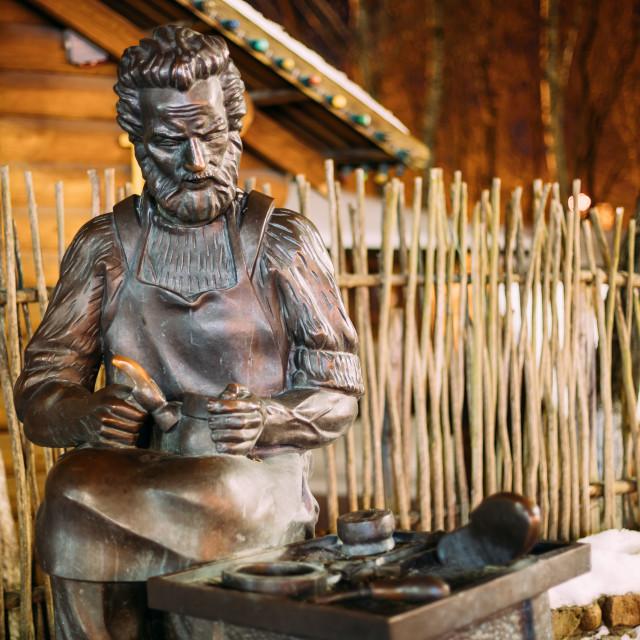 """Vitebsk, Belarus. Sculpture Of Saint Crispino Is Catholic Patron Of Shoemakers"" stock image"