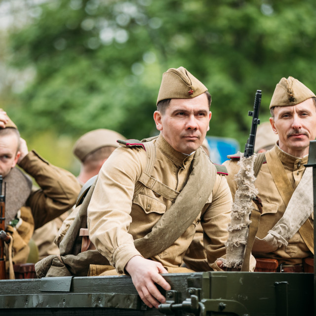 """Gomel, Belarus. Re-enactos Dressed As Russian Soviet Soldiers Of World War II..."" stock image"