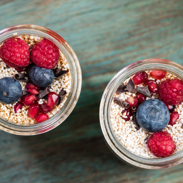 """""""Healthy brunch with fresh fruits in jar"""" stock image"""