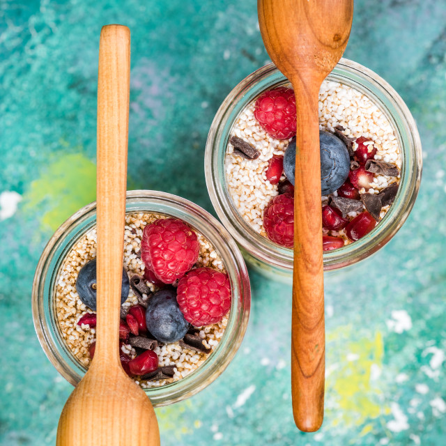 """""""Jars with fruits, oats and spoons on top"""" stock image"""