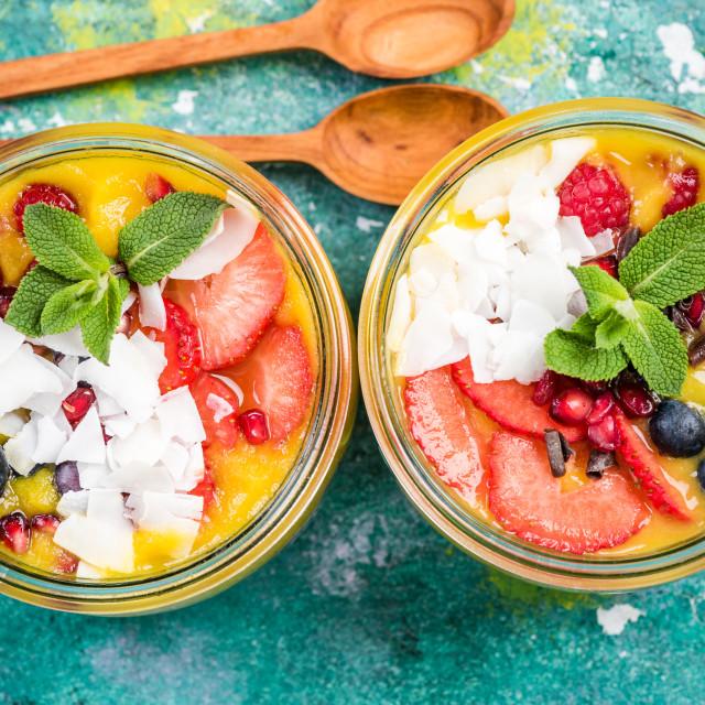 """homemade super healthy breakfast in jars"" stock image"
