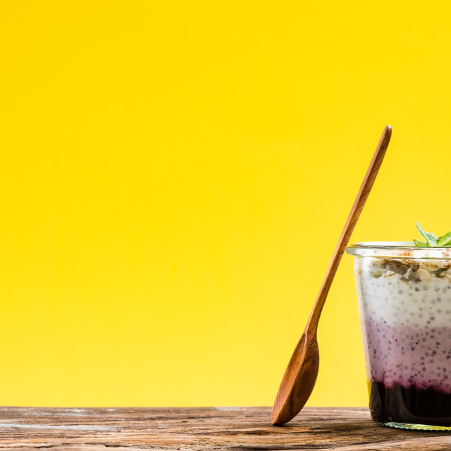 """""""Fresh berry and yogurt musse with chia in jar"""" stock image"""