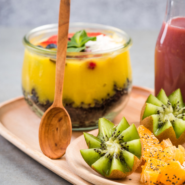 """Breakfast layered jar,smoothie and fruit salad"" stock image"