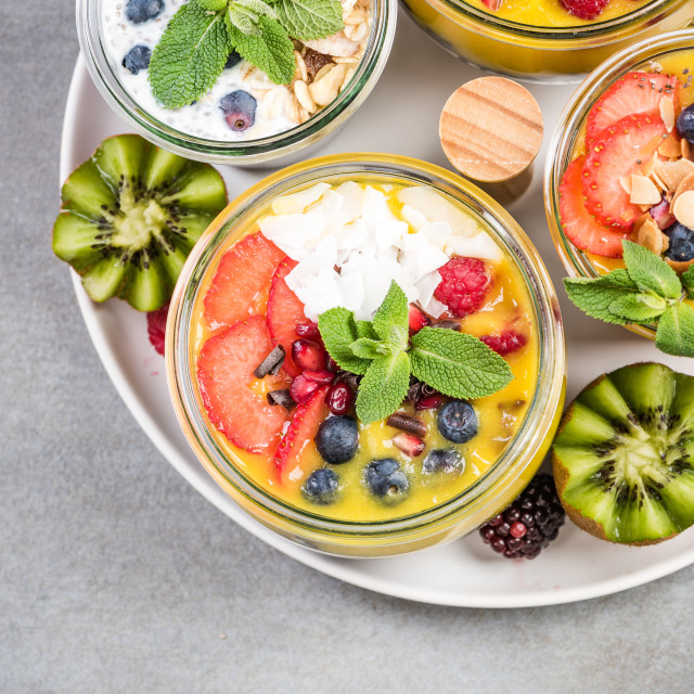 """""""Serving tray with layered food in jars"""" stock image"""
